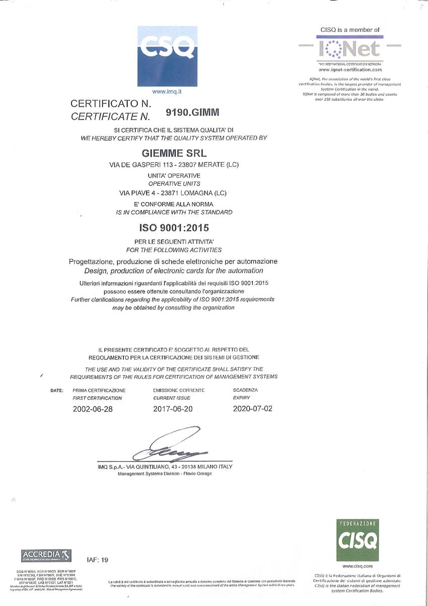 Certificato CSQ ISO9001 20151