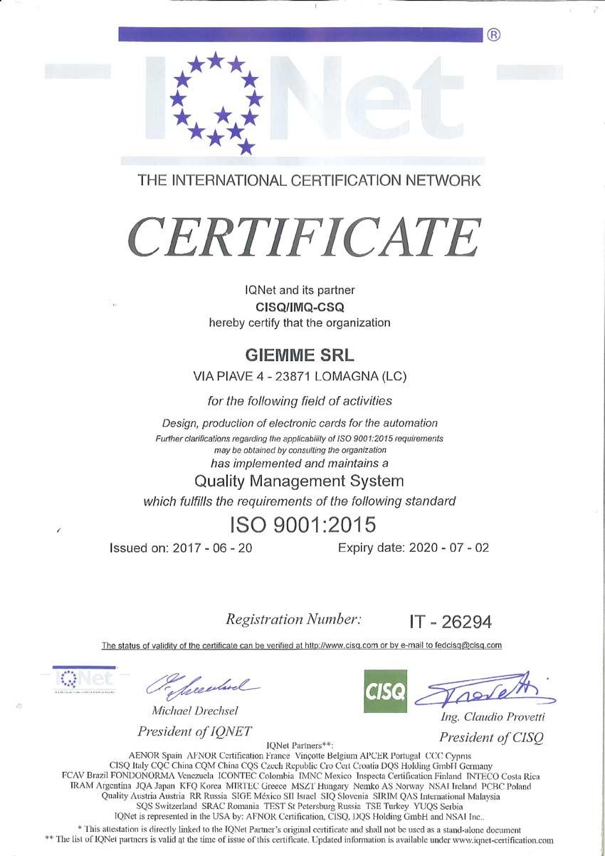 Certificato IQNET ISO9001 20151